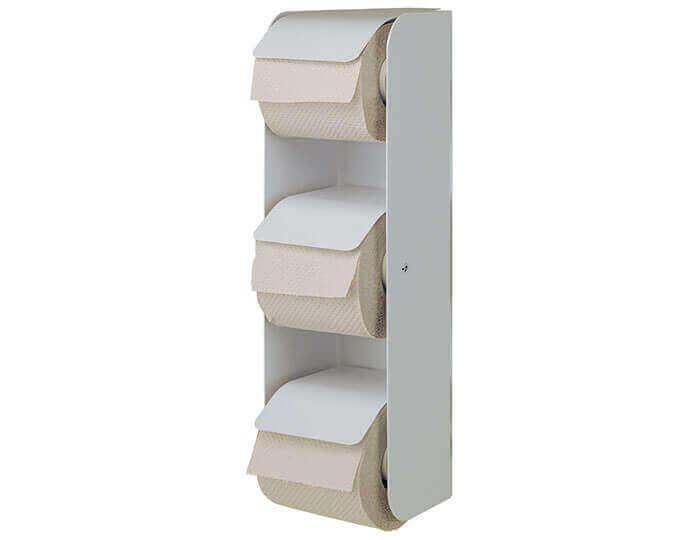 מתקן נייר טואלט לשלושה גלילים לבן